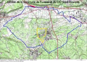 Limites de la commune de Fuveau et du CIQ Saint-François